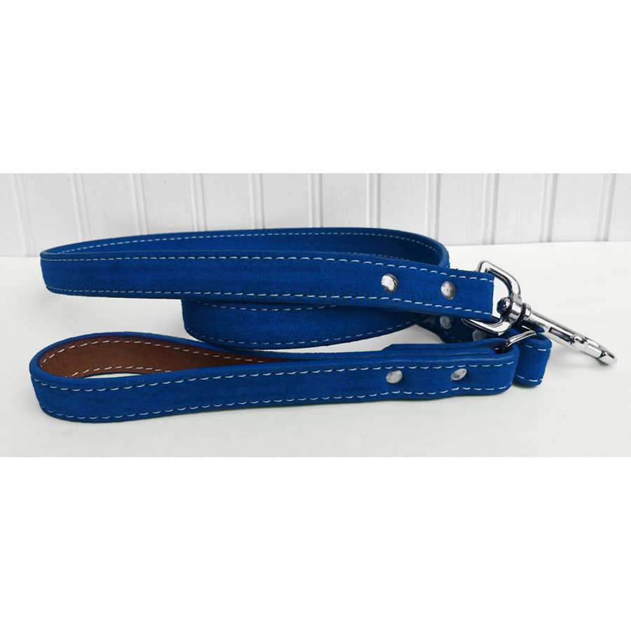 Saratoga Suede Blue Leather Dog Leash