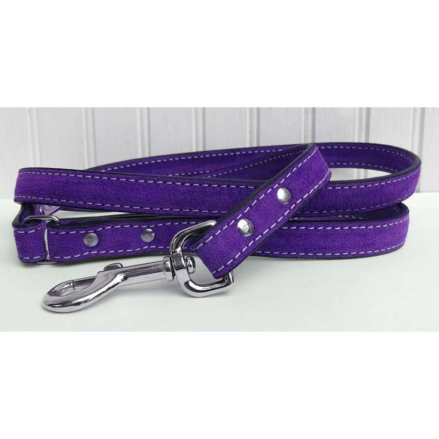 Saratoga Suede Purple Leather Dog Leash