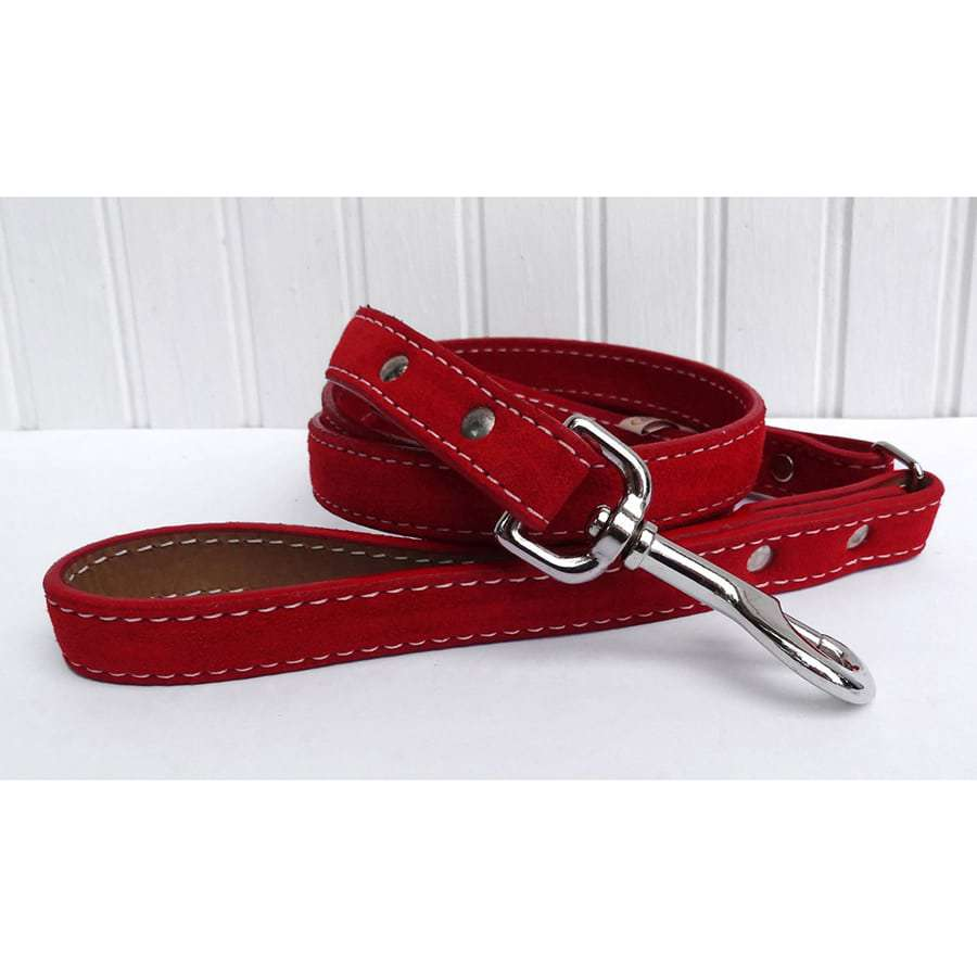 Saratoga Suede Red Leather Dog Leash