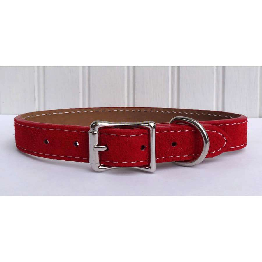 Saratoga Suede Red Leather Collar