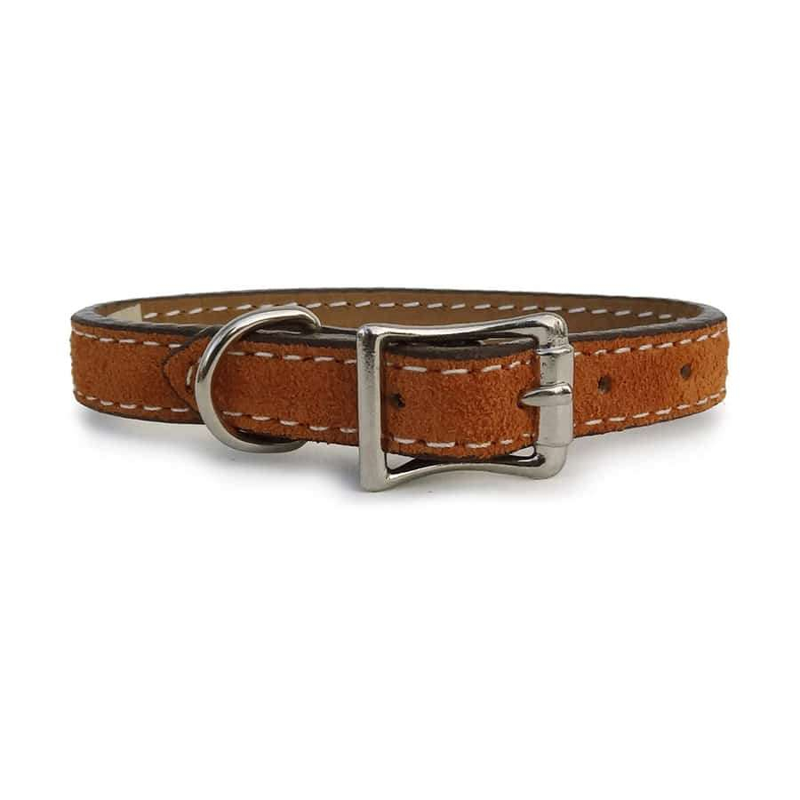 Saratoga Suede Toasted Tan Leather Collar