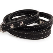Saratoga Suede Black Leather Dog Leash