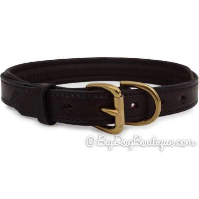 Padded Leather Dog Collar- brown with brown padding