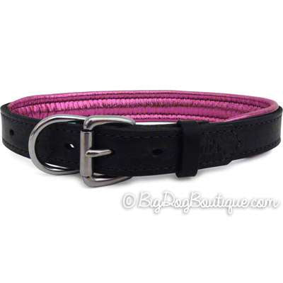 Padded Leather Dog Collar- black with metallic pink