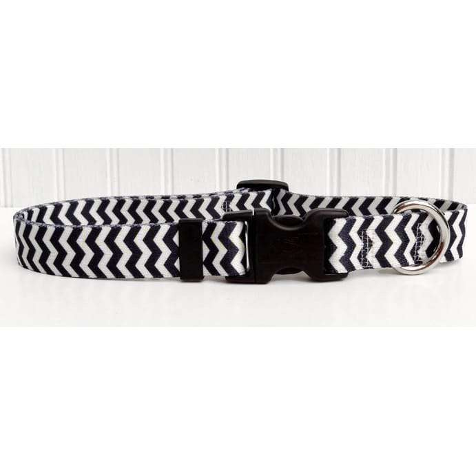 Licorice Black and White Chevron Dog Collar