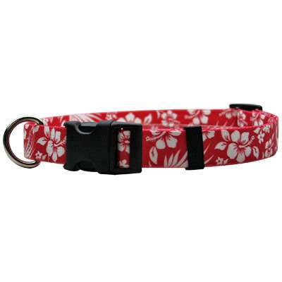 Red Aloha Hawaiian Dog Collar- adjustable or martingale