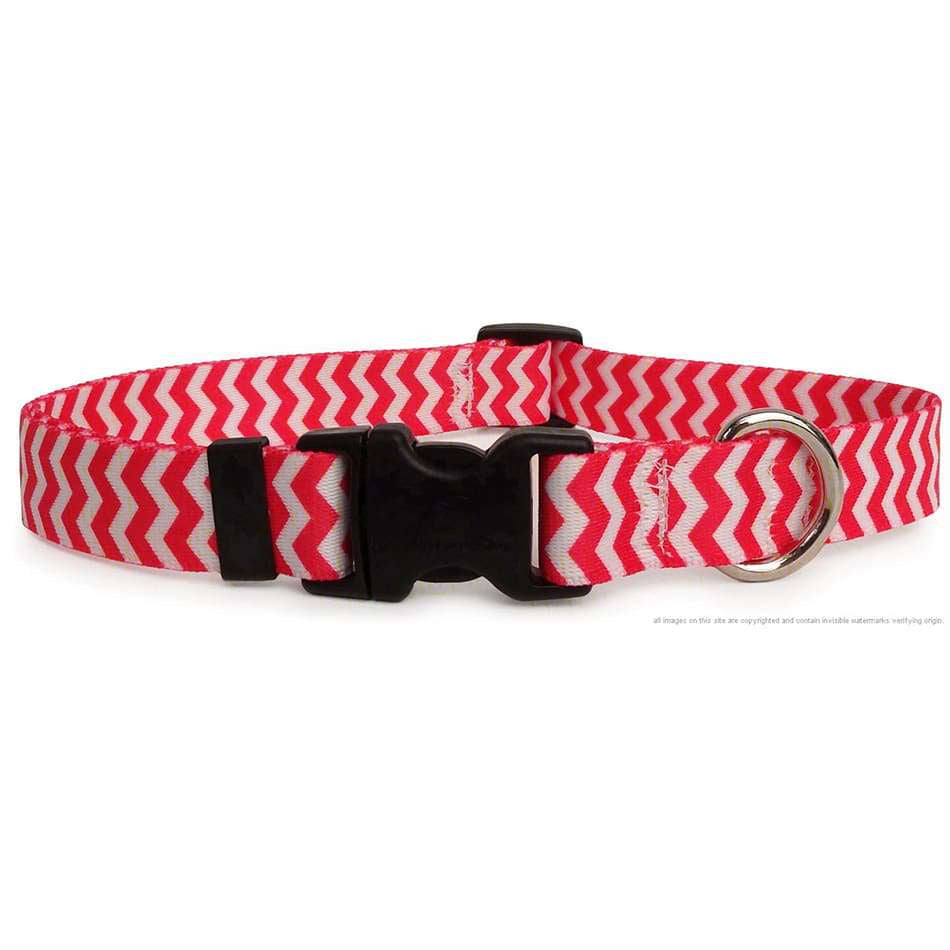 Pink and White Chevron Dog Collar- adjustable or martingale