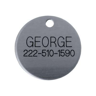 Laser Engraved Chrome Dog Tag- disk