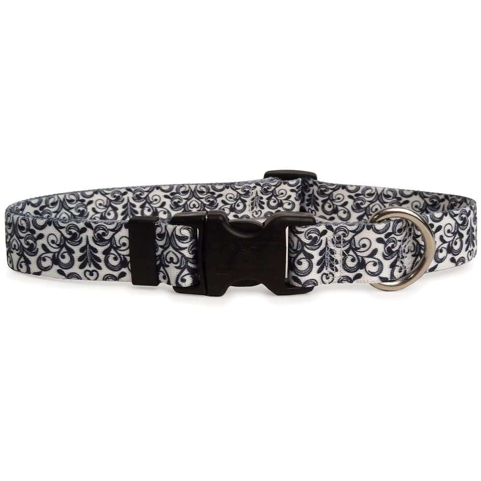 Damask Doodle Black and White Dog Collar