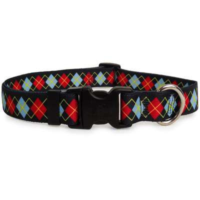 Navy and Red Argyle Dog Collar