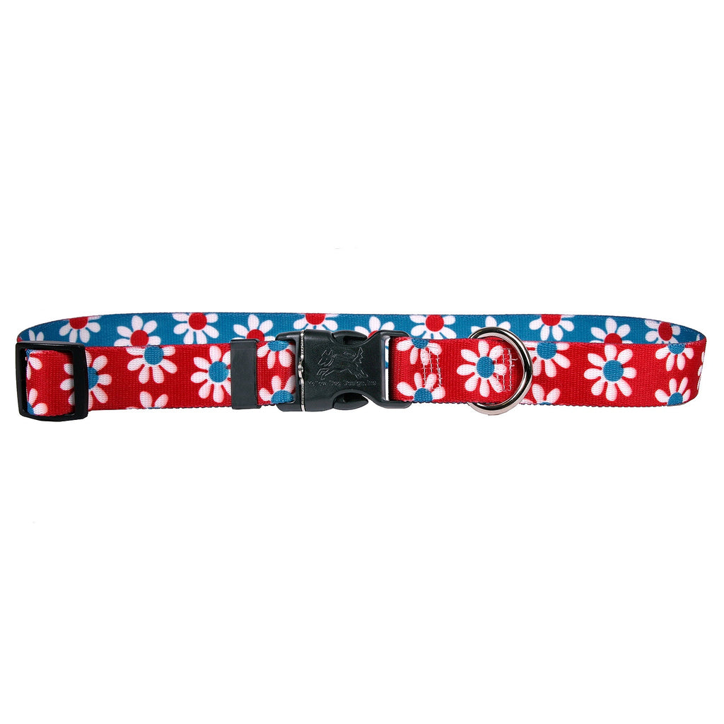 Teal & Red Daisy Dog Collar (Adjustable & Martingale)