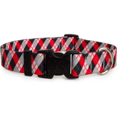 Red and Black Argyle Dog Collar