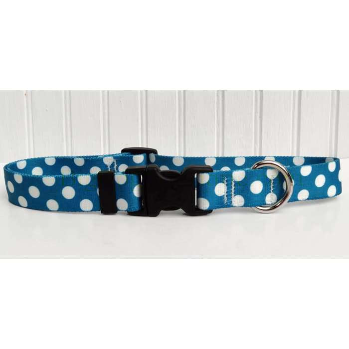 Blueberry Blue and White Polka Dot Dog Collar