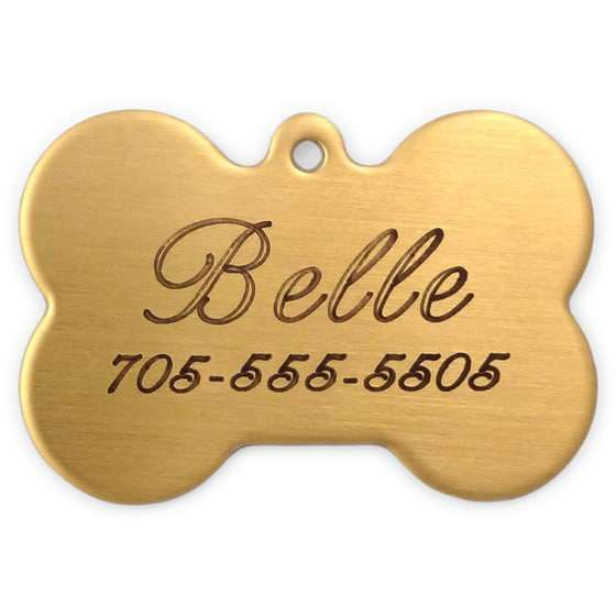 Laser Engraved Solid Brass Dog Tag - Bone Shaped