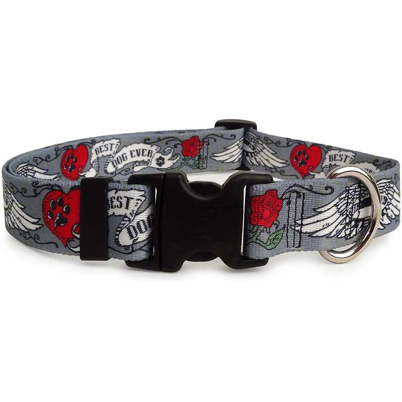 Best Dog Ever Tattoo Dog Collar (adjustable or martingale)