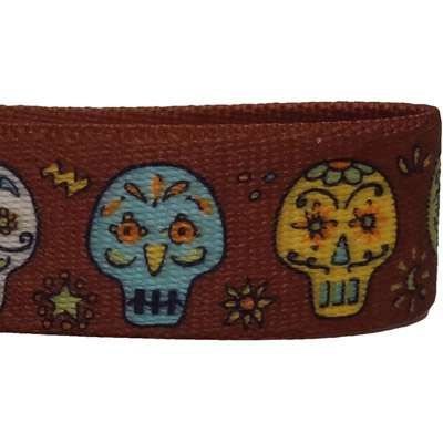 Candy Skulls Halloween Dog Collar- adjustable or martingale