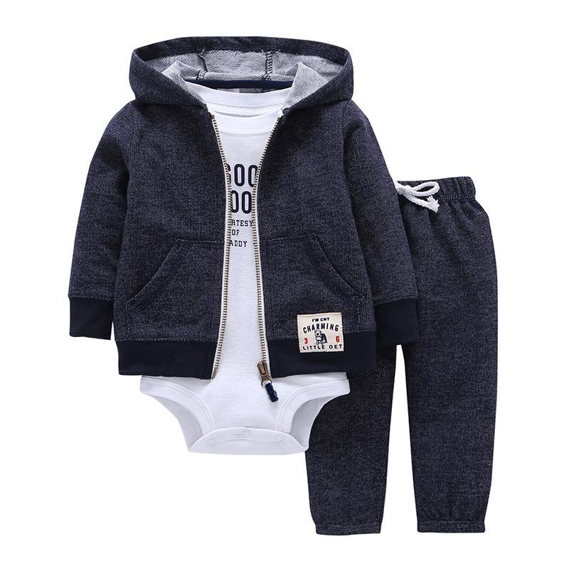 Baby Boy Clothing - Baby Boy & Girl Cotton Hooded Cardigans, Trousers & Under Body (3 Piece)