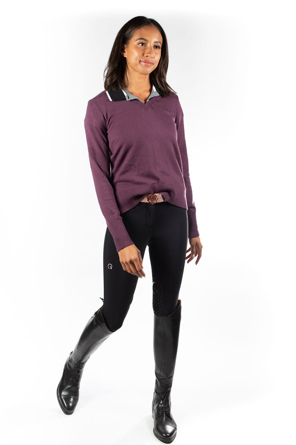 Angelina V-Neck Sweater Aubergine