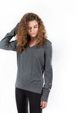 Angelina V-Neck Sweater Heathered Fog