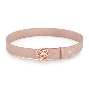 Dusted Rose Leather Signature Rose Belt