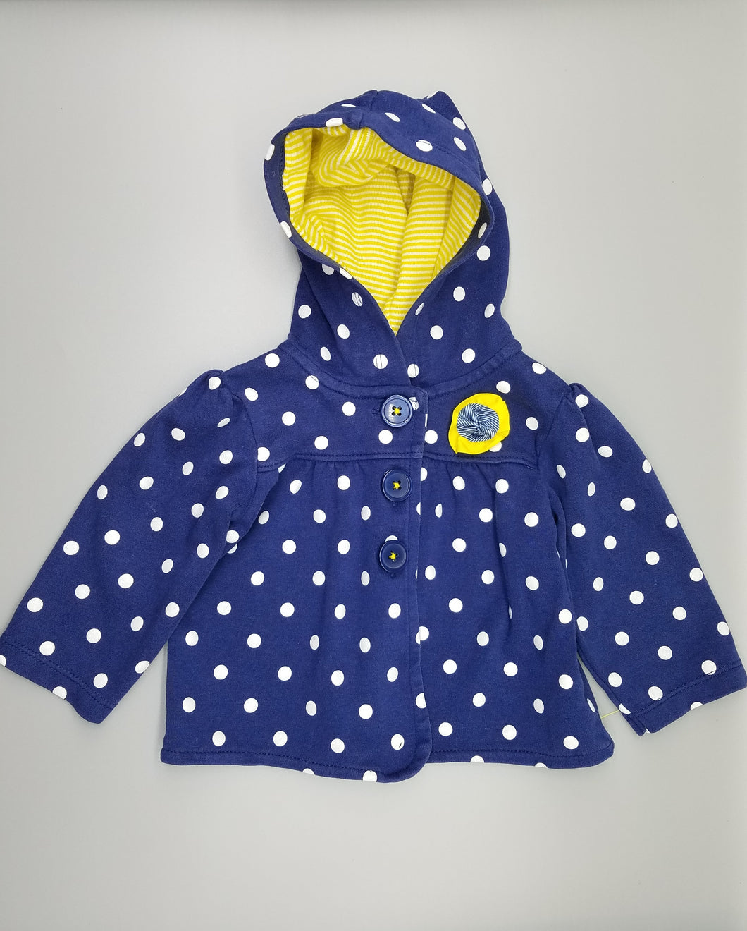 CC Blue Polka Dot Three-Button Sweater 12M