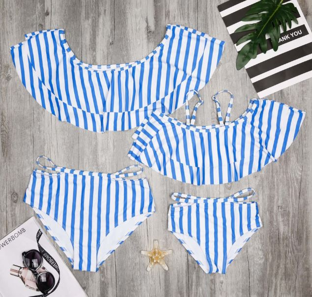 Stripe Mommy & Me Bikini Set