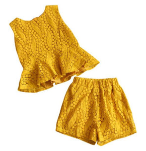Lace Peplum Shorts Set