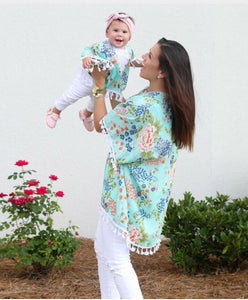 Mommy & Me Floral Mint Shawl