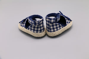 CC Blue and White Checkered Baby Espadrilles -Size 1
