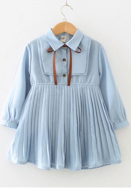 Powder Blue Pleated Dress