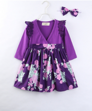Load image into Gallery viewer, Purple Floral Toddler Dress
