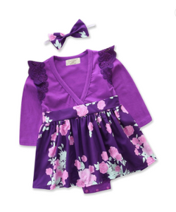 Baby Girls Purple Floral Dress