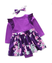 Load image into Gallery viewer, Baby Girls Purple Floral Dress