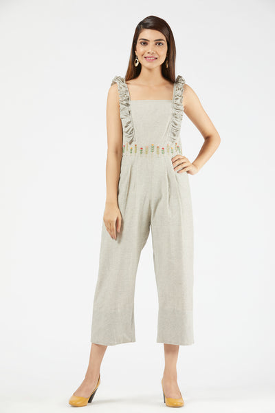 Checkered Frill Jumpsuit - Off White
