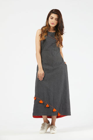 Stripe Dress With Overlap Back - Black