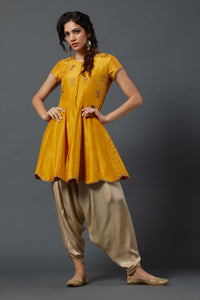 Peplum kurta with Dhoti - Yellow