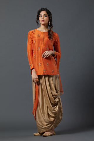 Kurta with Drape skirt - Orange