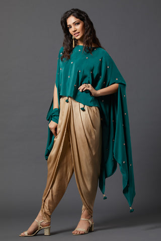 Cape with overlap Dhoti pants - Green