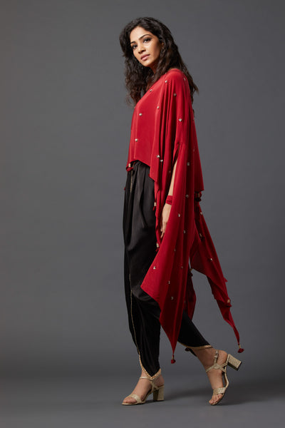 Cape with overlap Dhoti pants - Maroon