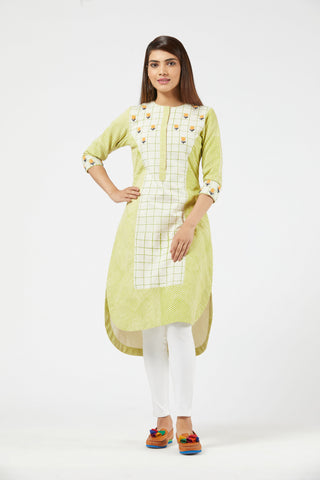 Striped Checkered Tunic - Green