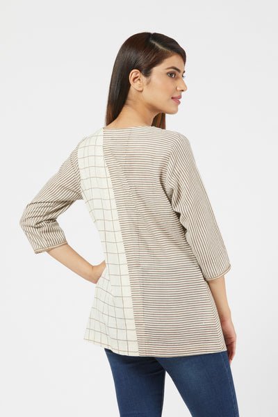 Striped & Checkered Top With Sleeves - Brown