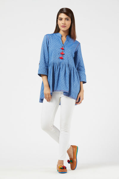 Peplum Top - Blue / Coral Red / Pink