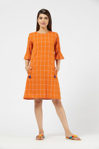 Checkered Shift Dress - Orange