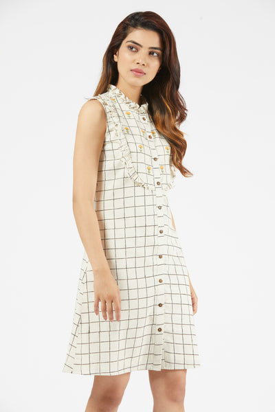 Checkered Frill Dress - Off-White