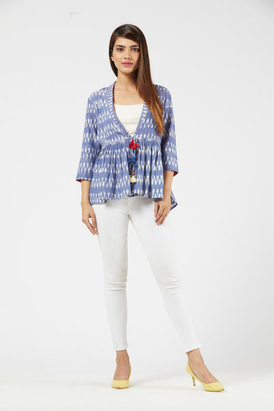 Ikat Short Jacket - Blue