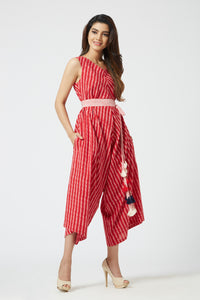 Bias Cut Jumpsuit - Red