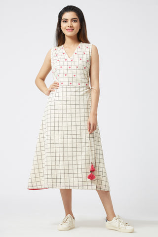 Checkered Overlap Dress - Offwhite