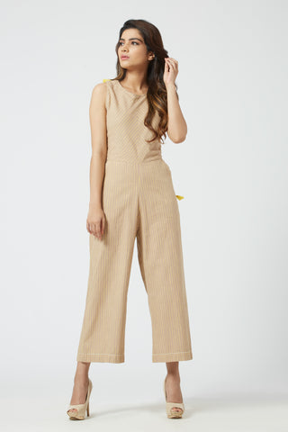 Striped Jumpsuit - Beige