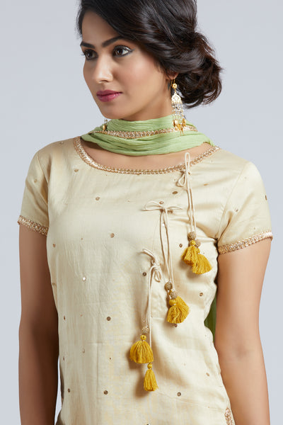 Kurta with Sharara - Beige with yellow