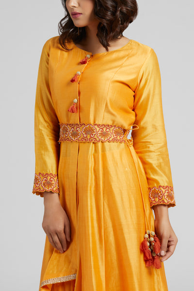 Asymmetrical Kurta with Palazzo set - Yellow